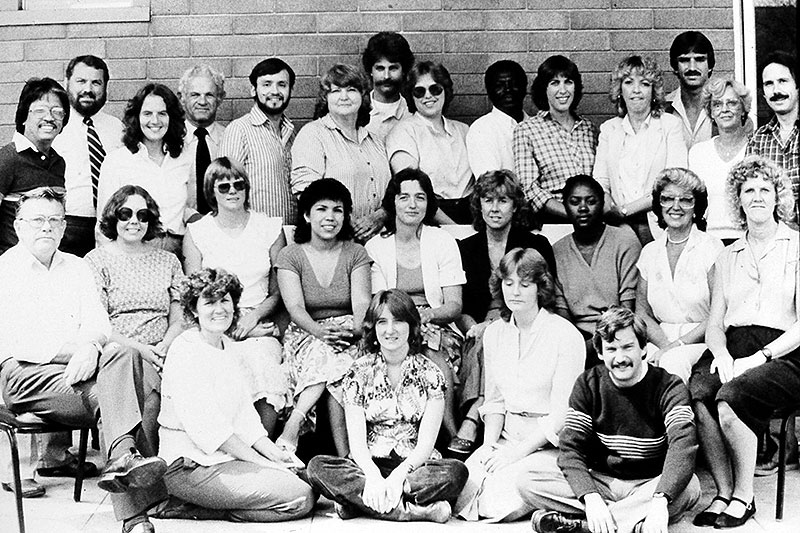Black and white group image of past DCARA staff.